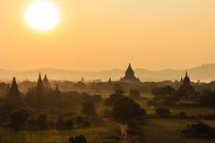 日落,在缅甸(Burmar)的Bagan 图库摄影