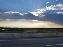 日落,堡垒McMurray,亚伯大 免版税库存照片