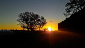 日落,夏天在圣塔菲,阿根廷 免版税库存照片