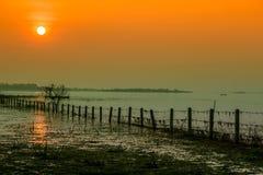 日落,天空,日出-黎明,海,海滩 免版税库存图片