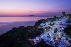 日落,希腊, Cyclade海岛 免版税库存照片