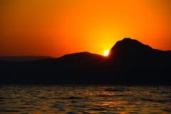 日落,晚上,风景,黄昏,风景,克里米亚,黑海,海 免版税图库摄影