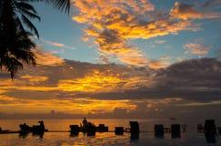 日落,海滩睡椅,棕榈树,无限游泳池silhoue 免版税库存照片