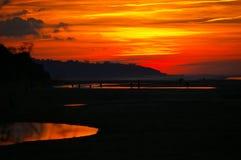 日落,火颜色 库存图片