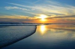 日落, Playa El埃斯皮诺,萨尔瓦多 库存照片