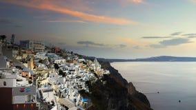 日落, Santorini海岛 库存图片