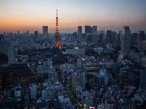 日落从世界贸易中心观测所的东京铁塔视图 图库摄影