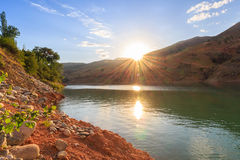 日落 乌兹别克斯坦的本质 库存图片