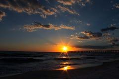 日落巴拿马城海滩佛罗里达 免版税库存图片