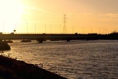 日落-斯旺西,威尔士 免版税图库摄影