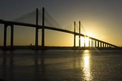 日落-牛顿Navarro桥梁,新生, RN,巴西 图库摄影