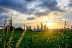 日落绿草领域和炼油厂背景 免版税图库摄影