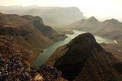日落 非洲blyde南峡谷的河 图库摄影