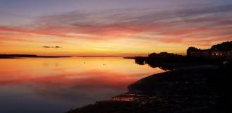 日落Aberdovey威尔士英国 免版税图库摄影