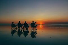 日落Al缆绳海滩 库存图片