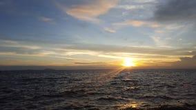 日落Bangsean海滩 图库摄影