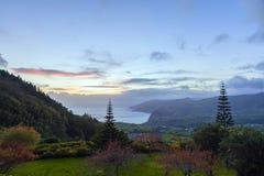 日落HDR在亚速尔群岛,葡萄牙的 库存图片