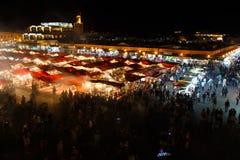 日落nicht市场在马拉喀什,摩洛哥 图库摄影