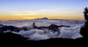 日落Roque Nublo, Gran卡纳里亚 库存照片