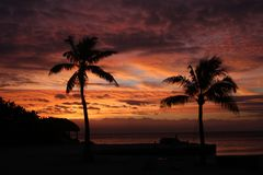 日落skyscape佛罗里达钥匙 免版税库存图片