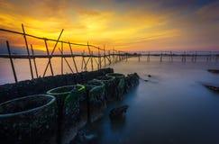 日落tanjung kait,印度尼西亚 免版税库存图片