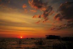 日落Tonle Sap湖 图库摄影
