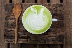 日语喝,席子cha拿铁杯绿茶 免版税库存图片