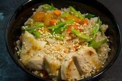 日语或韩国或中国海鲜膳食 面条 虾 免版税图库摄影