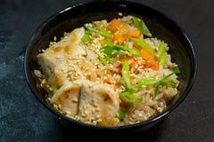 日语或韩国或中国海鲜膳食 面条 虾 免版税库存照片