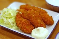 日语油煎的牡蛎 库存图片