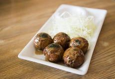 日语烤乌贼球 免版税库存照片