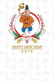 日语穿戴的猴子日本新年卡片 库存照片