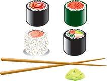 日语食物的图标 免版税库存照片