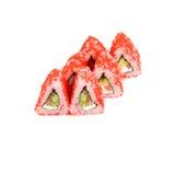 日语滚动与三文鱼和米飞鱼獐鹿 库存照片
