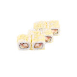 日语滚动用虾和米 库存照片