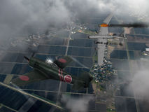 日语raiden战斗机和美国轰炸机 库存图片