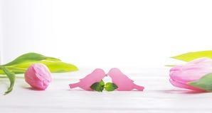 日重点例证查出爱言情s华伦泰白色 日愉快的s华伦泰 两只鸟和桃红色郁金香在轻的背景 空位 库存照片
