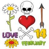 日集合华伦泰 头骨和心脏 爱和2月14日 库存图片