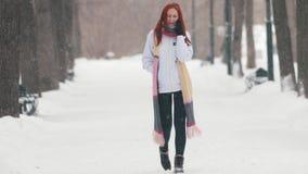 日霜1月天然公园多雪的结构树冬天 有明亮的红色头发和一条长的围巾的一名妇女谈话在电话 股票视频