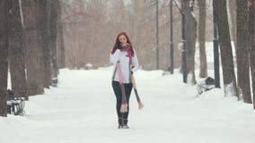 日霜1月天然公园多雪的结构树冬天 有明亮的红色头发的一名妇女谈话在电话 大雪 股票录像