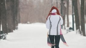 日霜1月天然公园多雪的结构树冬天 有明亮的红色头发的一名微笑的妇女谈话在电话 回到视图 股票录像