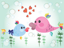 日鱼照顾向量 向量例证