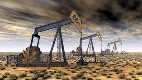 日6月卡扎克斯坦月西部的油泵 库存图片