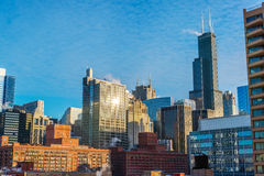 日间芝加哥都市风景 免版税图库摄影