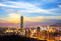 日间被观看的台北,台湾地平线 免版税库存照片