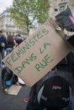 日demonstratrion法国可以巴黎 免版税库存照片