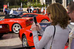 日ferrari摄影师显示观众 免版税库存照片