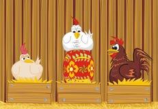 日paited的复活节彩蛋母鸡 免版税库存照片