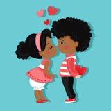 日s华伦泰 男孩女孩亲吻 背景看板卡grunge爱纸张 免版税库存照片