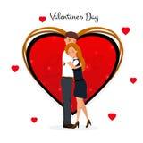 日s华伦泰 逗人喜爱的夫妇 爱Day.Valentines Day.Holidays卡片 加上重点 在动画片样式的传染媒介例证 皇族释放例证